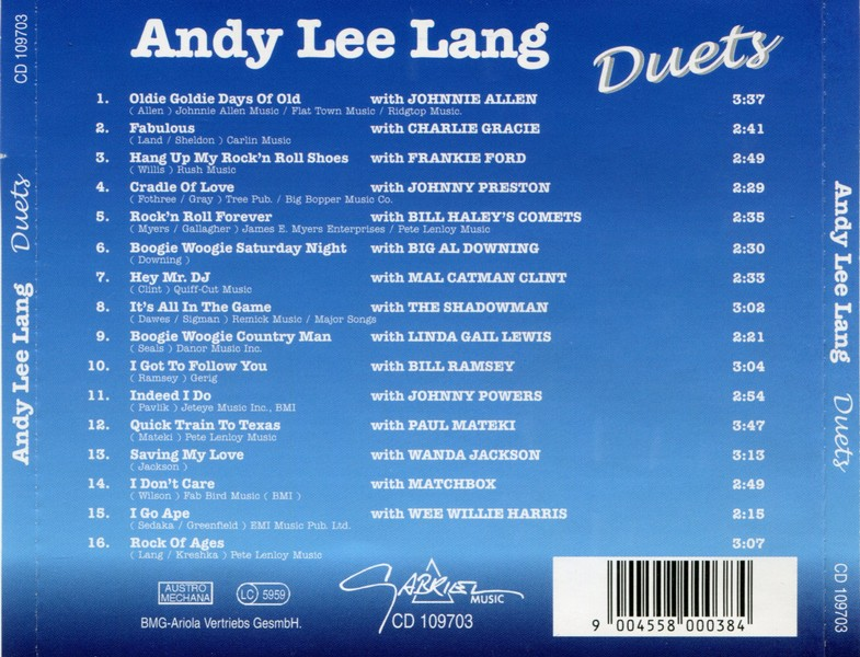 NOTES: Each track features Andy Lee Lang dueting with the artists listed.